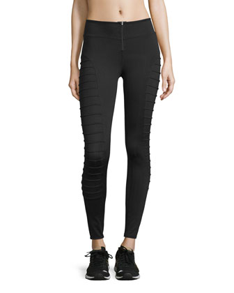 Tier Ribbed-Panel Cropped Leggings