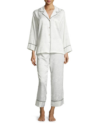 Cloisonne Long Pajama Set, Warm White