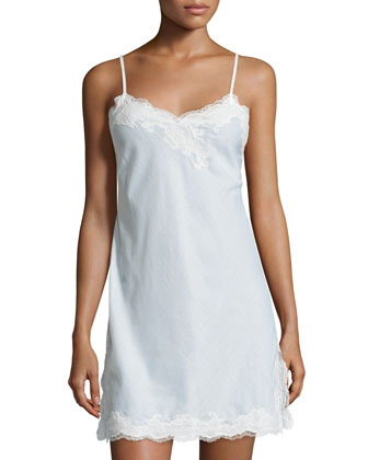 Paradise Lace-Trim Chemise, White