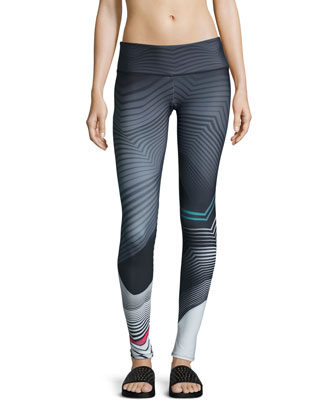 Graphic Long Sport Leggings, Tribal Effect