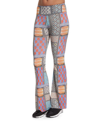 Patchwork-Print Bell-Bottom Sport Pants