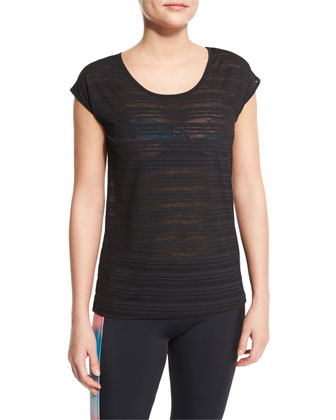 Tonal-Stripe Cap-Sleeve Sport Tee, Black