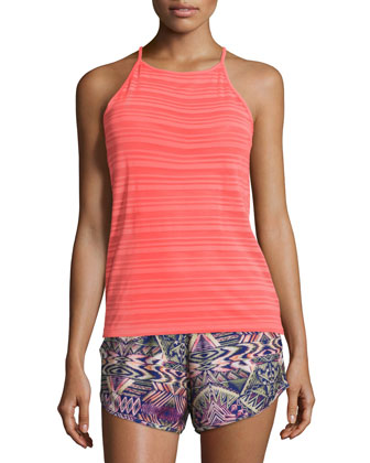 High-Neck Striped Sport Tank Top, Watermelon
