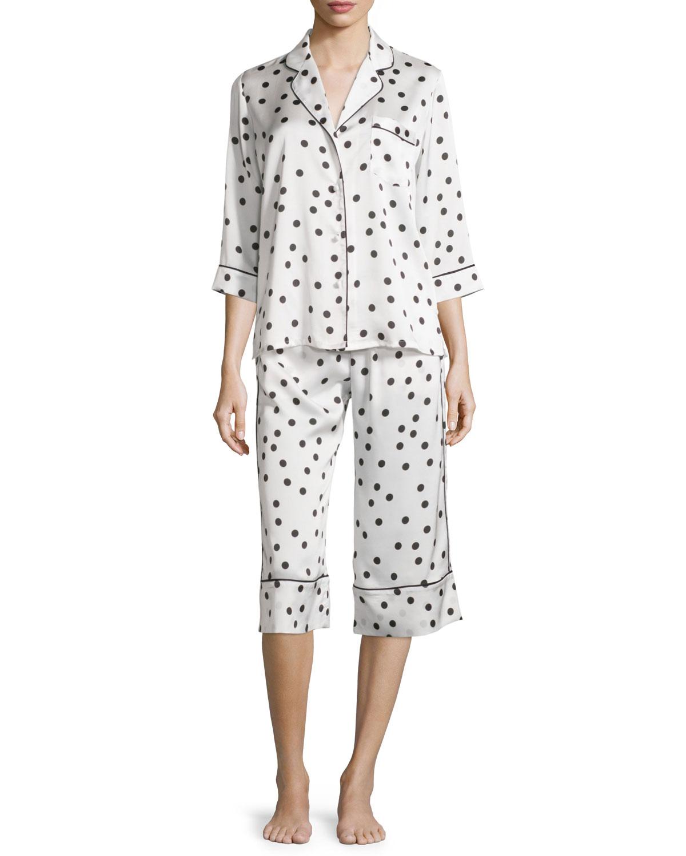 dot-print cropped pajama set, ivory dot, Women's, Size: L - Kate Spade