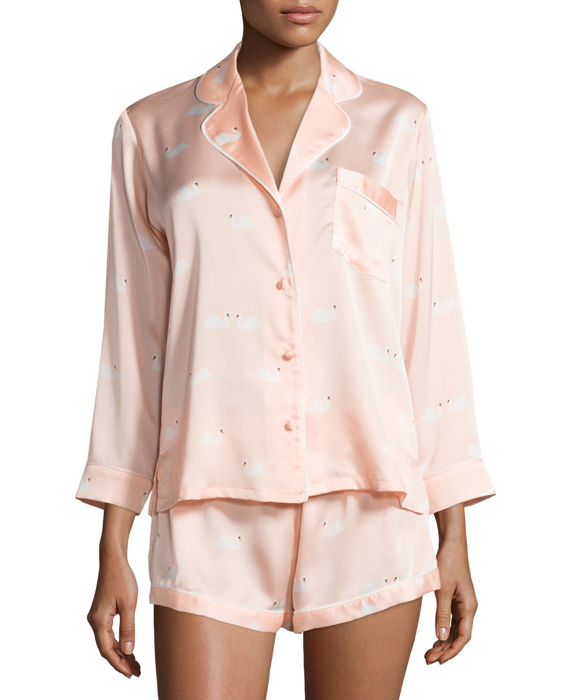 swan-print charmeuse shorty pajama set, Women's, Size: L, Lady Swans - Kate Spade