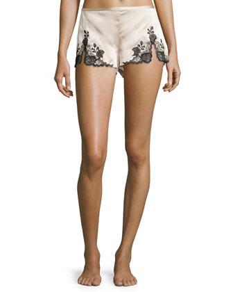 Lillian Lace-Trim Lounge Tap Pants, Skin