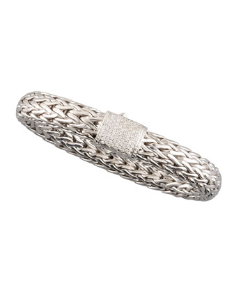 Large Chain Bracelet with Diamond Pave Clasp