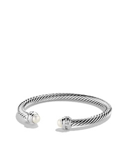 David Yurman 5mm Pearl & Diamond Silver Ice Bracelet