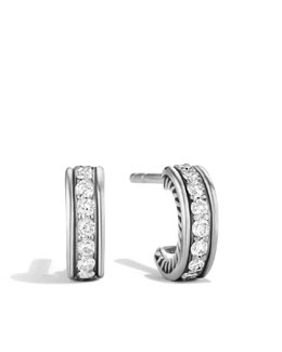 David Yurman Pave Diamond Hoop Earrings