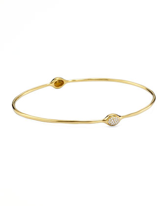 Stardust Gold Pave Diamond Oval-Station Bangle