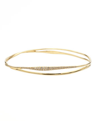Drizzle Split Pave Diamond Gold Bangle