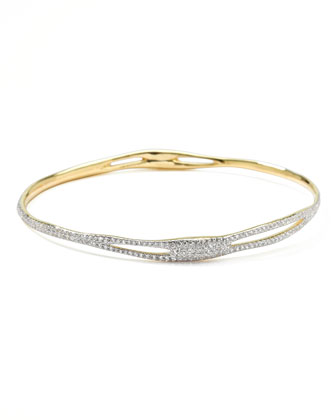 Drizzle 18k Gold Pave Diamond Bangle