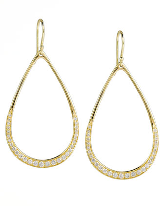 Stardust Elliptical Gold Pave Teardrop Earrings