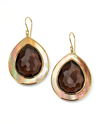 Ondine Smoky Quartz & Shell Teardrop Earrings, Large