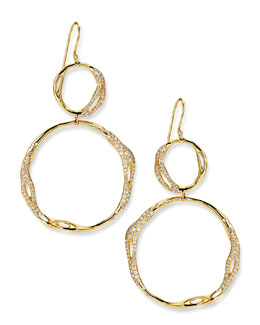 Ippolita Drizzle 18k Gold Pave Diamond Snowman Earrings