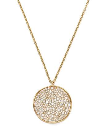 Stardust 18k Gold Diamond Wavy Disc Necklace