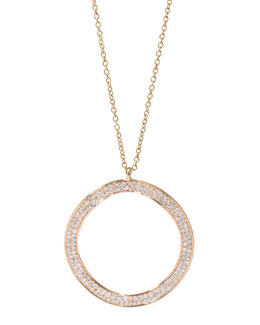Ippolita Stardust 18k Gold Diamond Wavy Open-Disc Necklace