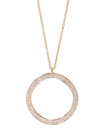 Stardust 18k Gold Diamond Wavy Open-Disc Necklace