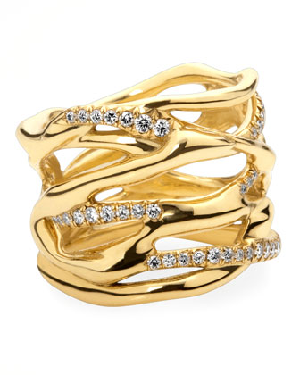 Drizzle Gold Diamond Split Ring