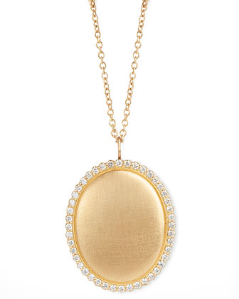 Scallop Diamond-Edge Locket 18k Gold Necklace