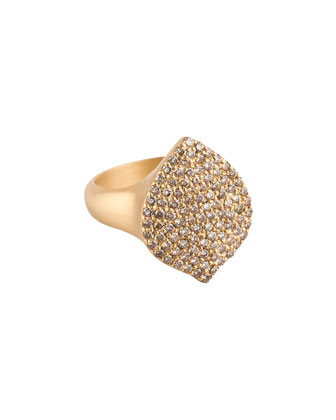 Pave Cognac Diamond 18k Gold Acorn Cocktail Ring