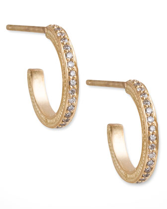 Mini Pave Diamond Hoop Earrings
