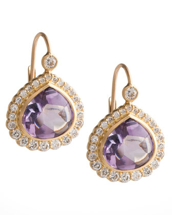 Bisou Diamond Edge Amethyst Drop Earrings