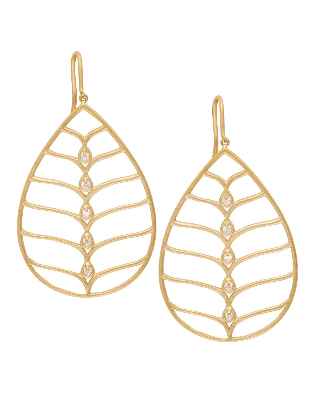 18k Gold Diamond Pear Earrings