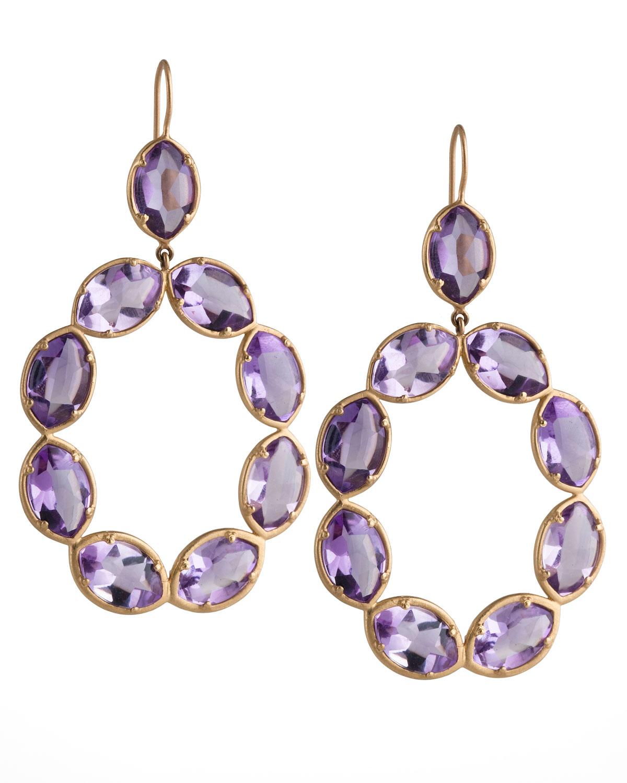 18k Gold Amethyst Marquise Link Earrings