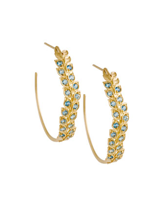 Pave Aquamarine Vine Hoop Earrings