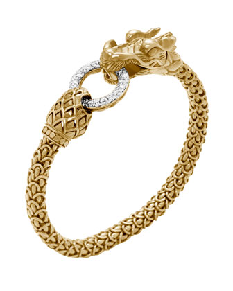 Gold Naga Dragon Diamond O-Ring Bracelet