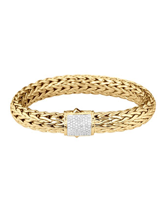 Classic Chain Gold Diamond Bracelet, Large