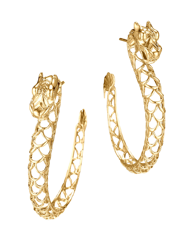 Gold Naga Hoop Earrings