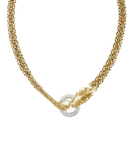 John Hardy Gold Naga Dragon Diamond O-Ring Necklace