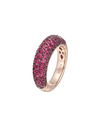 Gold Classic Chain Ruby Slim Dome Ring
