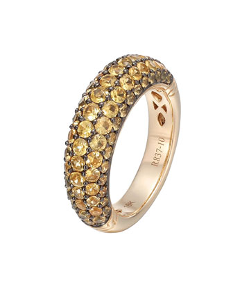Gold Classic Chain Yellow Sapphire Slim Dome Ring