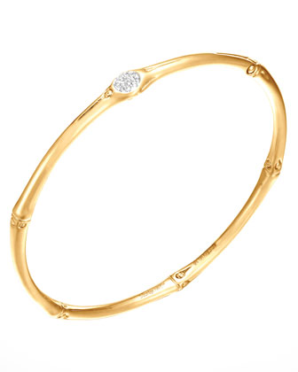 Bamboo Pave Diamond Slim 18k Gold Bangle