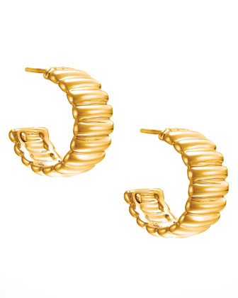 18k Gold Bedeg Wide Hoop Earrings