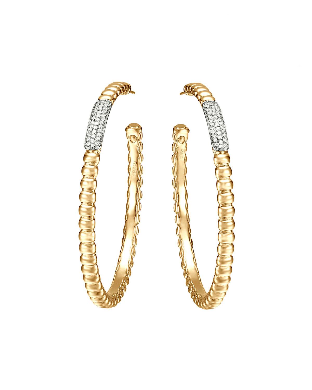 Gold Bedeg Pave Diamond Large Hoop Earrings