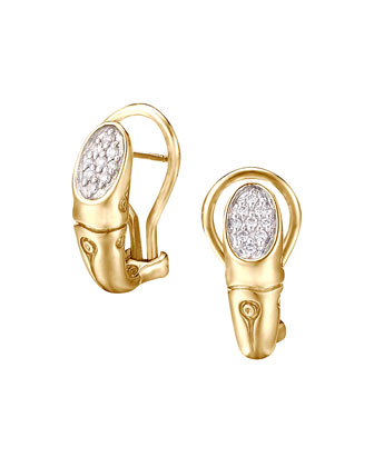Gold Bamboo Pave Diamond Small Shrimp Earrings