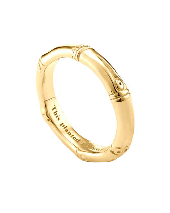 Bamboo Slim Band Ring, Gold