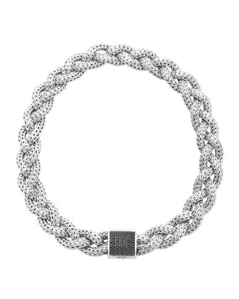 Classic Chain Silver with Black Sapphire Braided Necklace