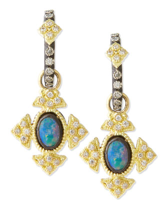 Mini Midnight Oval Opal Cross Earrings
