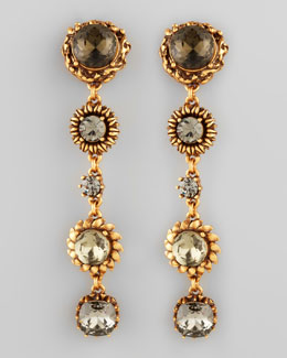 Oscar de la Renta Five-Stone Floral Drop Earrings, Black