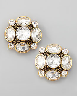 Oscar de la Renta Crystal Flower Button Clip Earrings, Clear