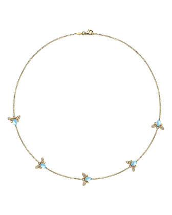 Eve Blue Topaz & Diamond Bee Necklace, 17