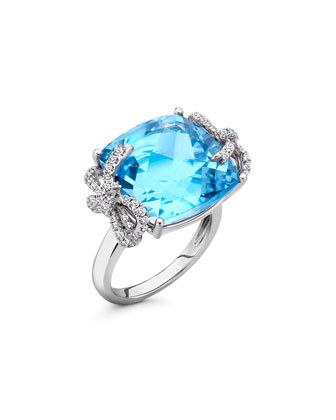 Diamond Bow 18k Gold Blue Topaz Ring