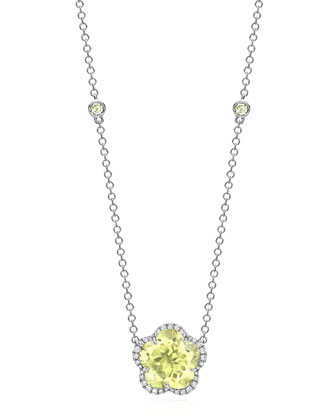 Grace Flower Lemon Quartz & Diamond Necklace