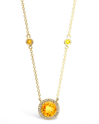 Grace Citrine & Diamond Pendant Necklace