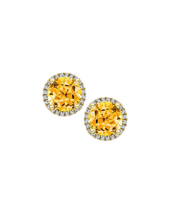 Grace 18k Gold Citrine & Diamond Earrings